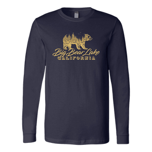 Big Bear Lake California V.2, Gold, Hoodies Long Sleeve T-shirt Canvas Long Sleeve Shirt Navy S
