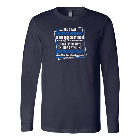 Image of You shall not be afraid Psalm 91 5-6 White Longsleeve and Hoodies T-shirt Canvas Long Sleeve Shirt Navy S