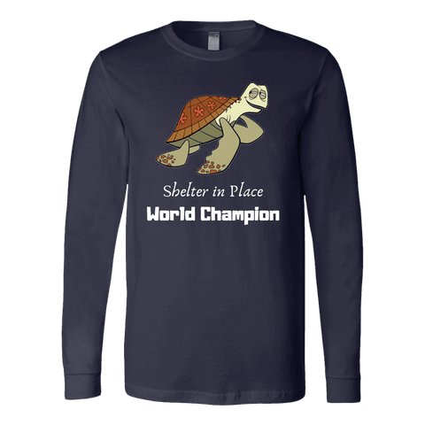 Shelter In Place World Champion, White Print Long Sleeve Hoodie T-shirt Canvas Long Sleeve Shirt Navy S