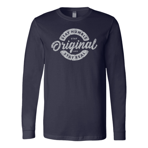 Image of Stay Real, Stay Original | Long Sleeves and Hoodies T-shirt Canvas Long Sleeve Shirt Navy S
