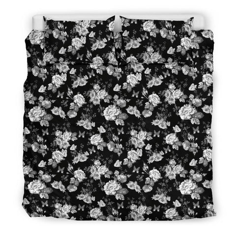 Image of Gorgeous White Flowers on Premium Bedding bedding Bedding Set - Black - Beige US King