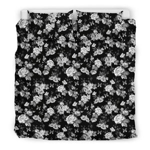 Gorgeous White Flowers on Premium Bedding bedding Bedding Set - Black - Beige US King