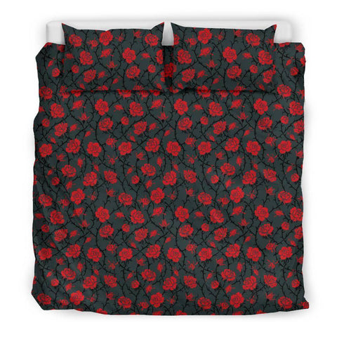Red Roses Bedding bedding Bedding Set - Black - Red Roses US King