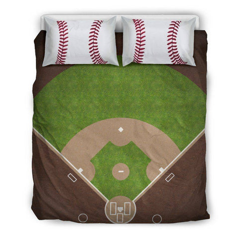 Image of Awesome Baseball Bedding, Black Bedding Set - Black - Black US Queen/Full