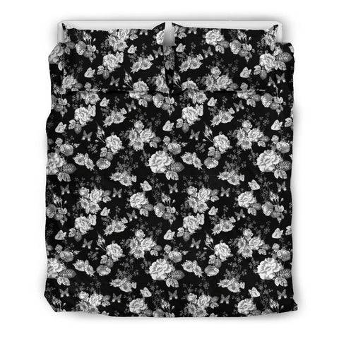 Image of Gorgeous White Flowers on Premium Bedding bedding Bedding Set - Black - Beige US Queen/Full