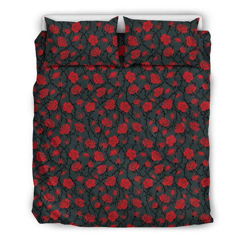 Image of Red Roses Bedding bedding Bedding Set - Black - Red Roses US Queen/Full