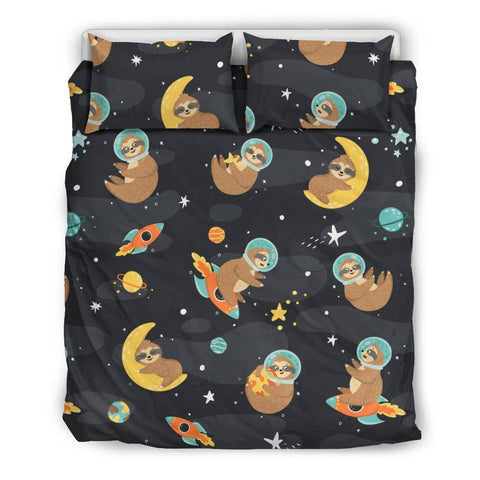 Space Sloth Premium Bedding bedding Bedding Set - Black - Space Sloth US Queen/Full