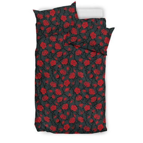Image of Red Roses Bedding bedding Bedding Set - Black - Red Roses US Twin