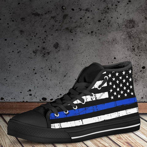 Premium Canvas Highttop with Thin Blue Line Flag