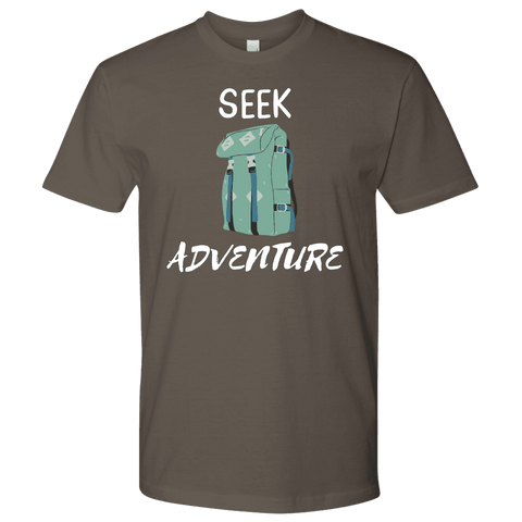 Image of Seek Adventure with Backpack (Mens) T-shirt Next Level Mens Shirt Warm Grey S