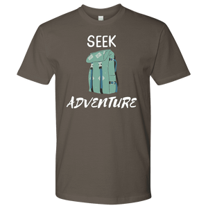 Seek Adventure with Backpack (Mens) T-shirt Next Level Mens Shirt Warm Grey S