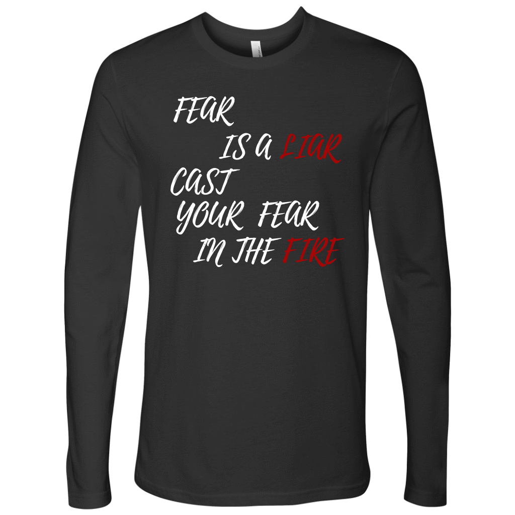Fear Is A LIAR! White T-shirt Next Level Mens Long Sleeve Heavy Metal S