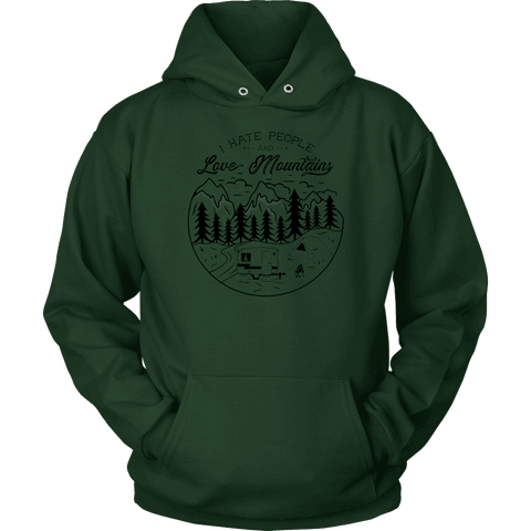 Image of Love The Mountains Mens T-shirt Unisex Hoodie Dark Green S