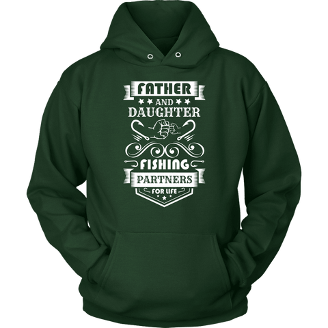 Image of Father and Daughter Fishing Partners T-shirt Unisex Hoodie Dark Green S