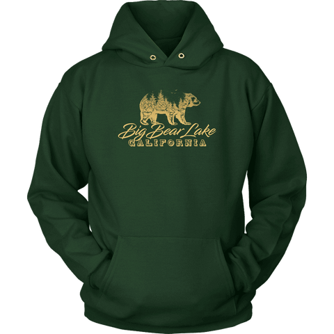 Image of Big Bear Lake California V.2, Gold, Hoodies Long Sleeve T-shirt Unisex Hoodie Dark Green S
