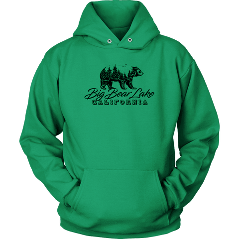 Image of Big Bear Lake California V.2, Hoodies and Long Sleeve T-shirt Unisex Hoodie Kelly Green S