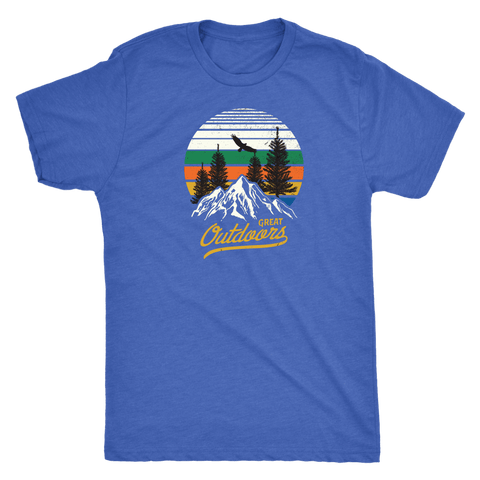Image of Great Outdoors Shirts | Mens T-shirt Next Level Mens Triblend Vintage Royal S