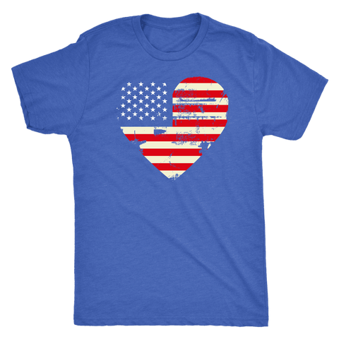 Image of Love America Men's Shirts Blue T-shirt Next Level Mens Triblend Vintage Royal S