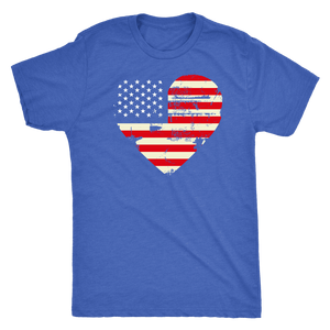 Love America Men's Shirts Blue T-shirt Next Level Mens Triblend Vintage Royal S