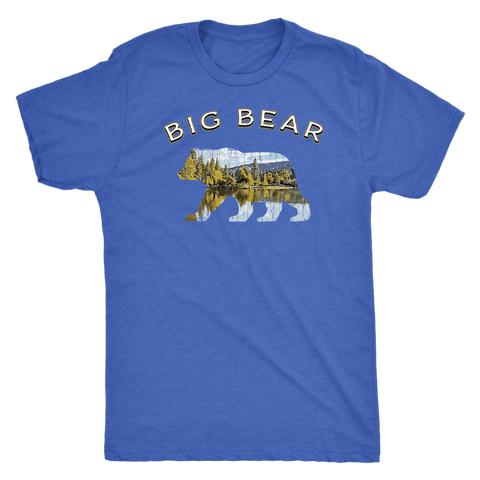 Image of Big Bear V.1 Men's Shirts T-shirt Next Level Mens Triblend Vintage Royal S