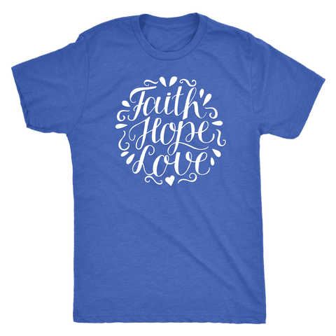 Image of Faith Hope and Love, White Print T-shirt Next Level Mens Triblend Vintage Royal S