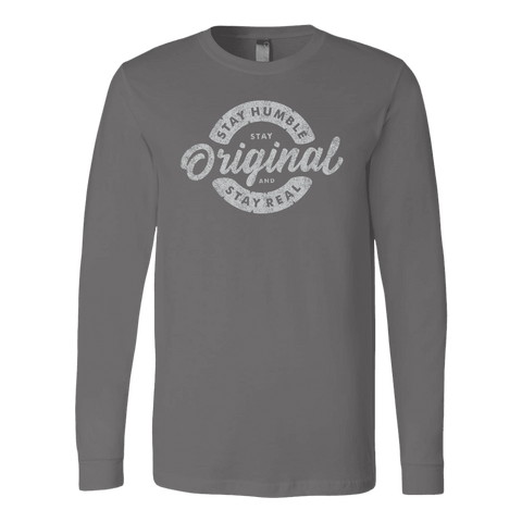 Image of Stay Real, Stay Original | Long Sleeves and Hoodies T-shirt Canvas Long Sleeve Shirt Asphalt S