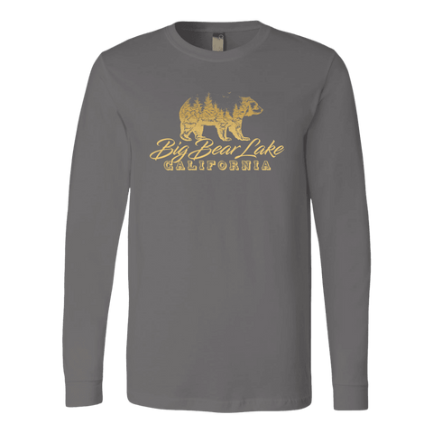 Image of Big Bear Lake California V.2, Gold, Hoodies Long Sleeve T-shirt Canvas Long Sleeve Shirt Asphalt S