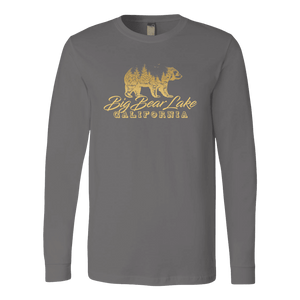 Big Bear Lake California V.2, Gold, Hoodies Long Sleeve T-shirt Canvas Long Sleeve Shirt Asphalt S