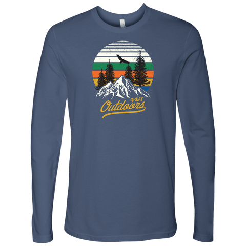 Image of Great Outdoors Shirts | Mens T-shirt Next Level Mens Long Sleeve Indigo S