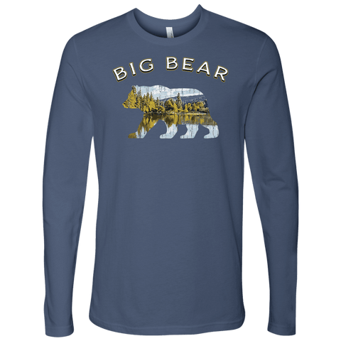 Image of Big Bear V.1 Men's Shirts T-shirt Next Level Mens Long Sleeve Indigo S