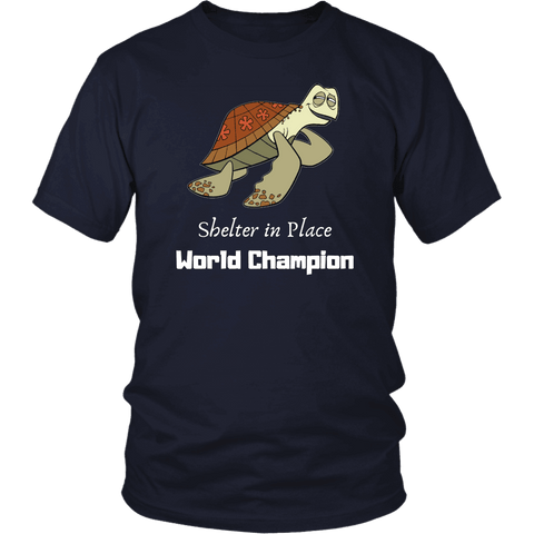 Image of Shelter In Place World Champion, White Print T-shirt District Unisex Shirt Navy S