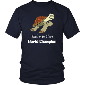 Shelter In Place World Champion, White Print T-shirt District Unisex Shirt Navy S