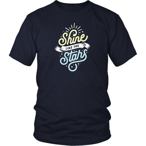 Shine Like The Stars T-shirt District Unisex Shirt Navy S