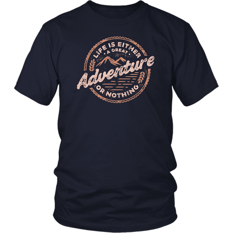 Image of Life Is A Great Adventure T-shirt District Unisex Shirt Navy S