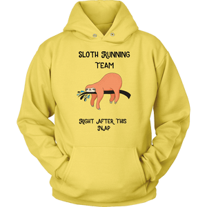 Sloth Running Team T-shirt Unisex Hoodie Yellow S