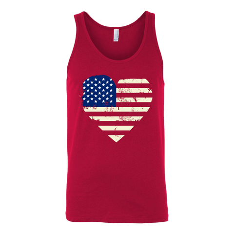 Love America Men's Shirts Red T-shirt Canvas Unisex Tank Red S