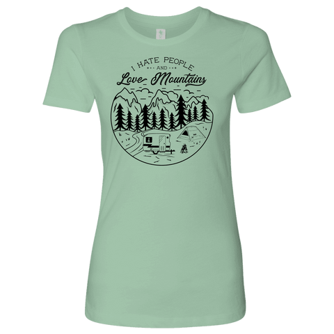 Image of Love The Mountains Womens T-shirt Next Level Womens Shirt Mint S