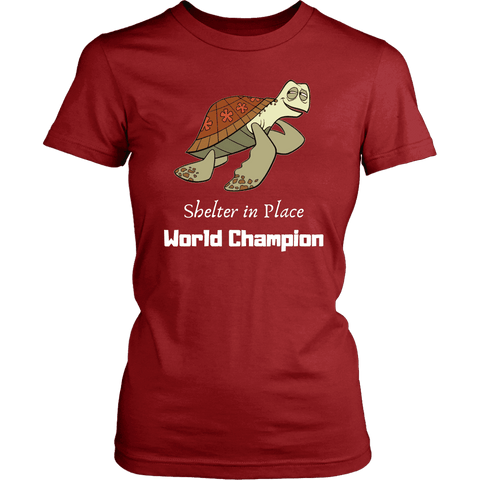 Image of Shelter In Place World Champion, White Print T-shirt District Womens Shirt Red XS