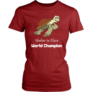 Shelter In Place World Champion, White Print T-shirt District Womens Shirt Red XS