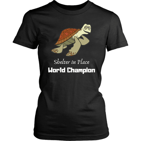 Image of Shelter In Place World Champion, White Print T-shirt District Womens Shirt Black XS