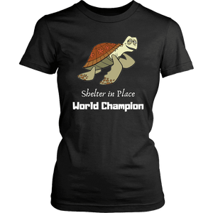 Shelter In Place World Champion, White Print T-shirt District Womens Shirt Black XS