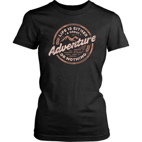 Image of Life Is A Great Adventure T-shirt District Womens Shirt Black XS
