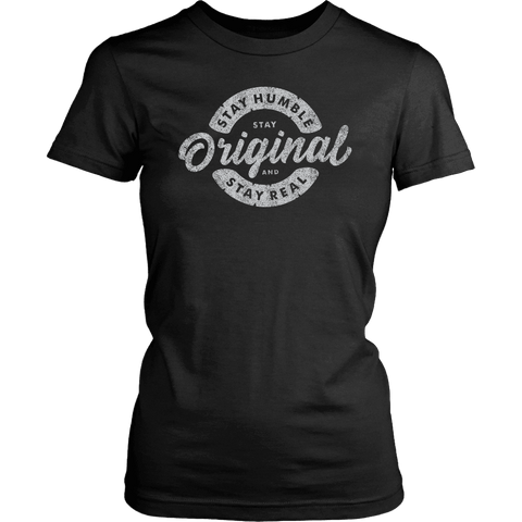 Image of Stay Real, Stay Original Womens T-shirt District Womens Shirt Black XS