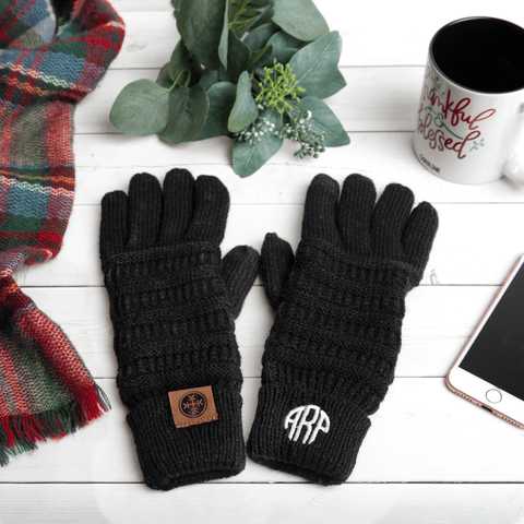Image of Monogramed Gloves | Personalized For You Monogrammed Personalized Products Black Fancy