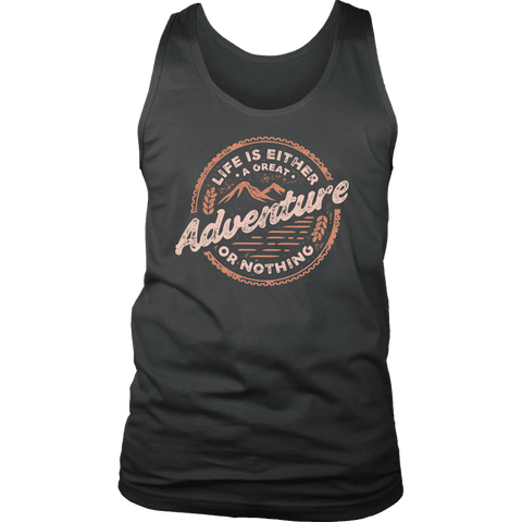 Image of Life Is A Great Adventure T-shirt District Mens Tank Charcoal S
