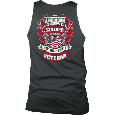 American by Birth, Soldier by Choice T-shirt District Mens Tank Charcoal S