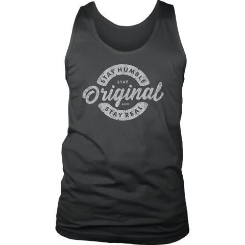Image of Stay Real, Stay Original Mens Shirts T-shirt District Mens Tank Charcoal S
