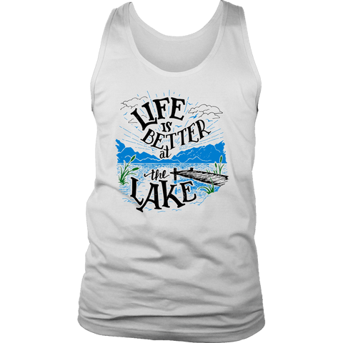 Image of Life is Better At The Lake Men's Shirts T-shirt District Mens Tank White S