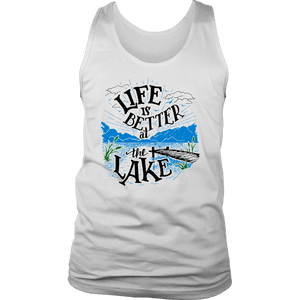Life is Better At The Lake Men's Shirts T-shirt District Mens Tank White S