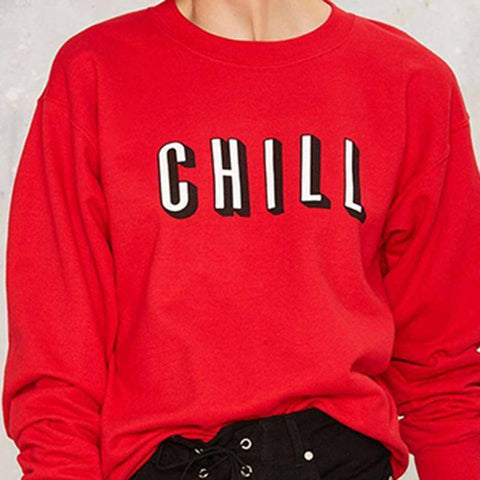 "Image of Solid Red ""CHILL"" Sweatshirt Hoodies & Sweatshirts S"
